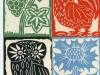 Vier Grußkarten Farbholzschnitte, 1959